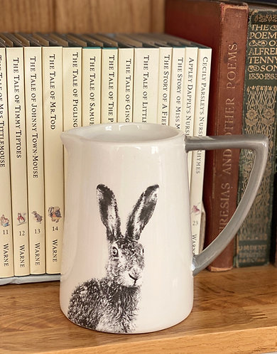 Ceramic Grey & White Hare Jug