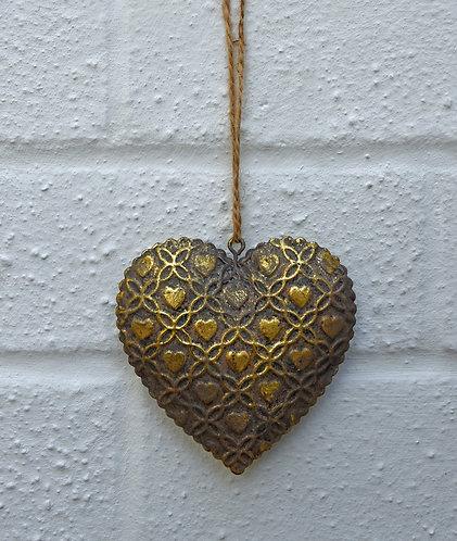 Antiqued Bronze Hanging Heart