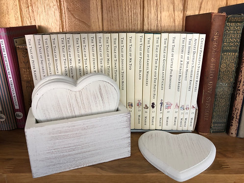 Rustic White Wooden Heart Coasters