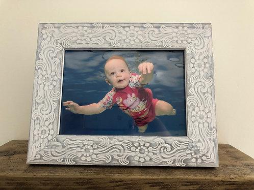 "Distressed White 5 X 7"" Shabby Chic Photo Frame"