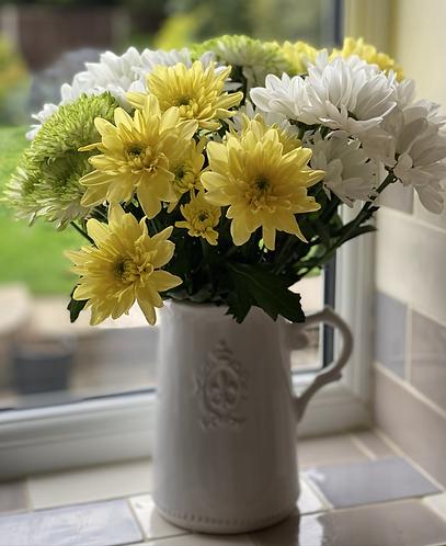 White Fleur De Lis Ceramic Jug