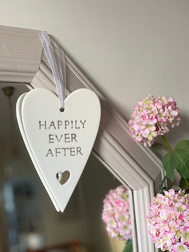 Hanging Ceramic Happily Ever After Heart
