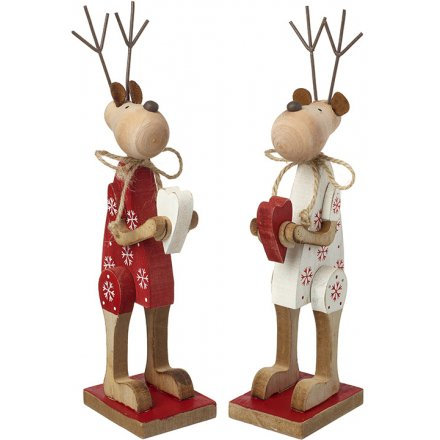 Red & White Nordic Wooden Reindeers