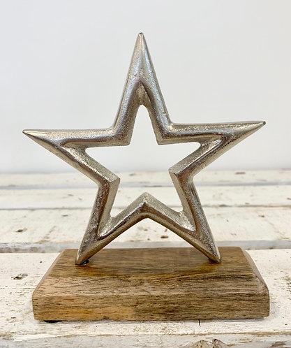 Silver Hammered Star on Rustic Oak Base