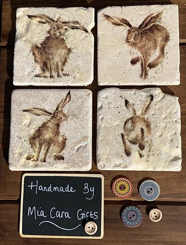 Set of 4 Natural Stone Decoupaged Coasters