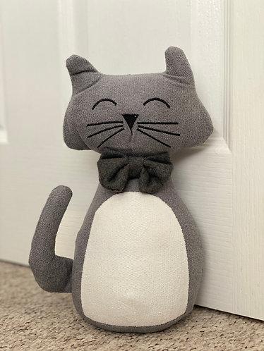 Grey & White Cat Doorstop