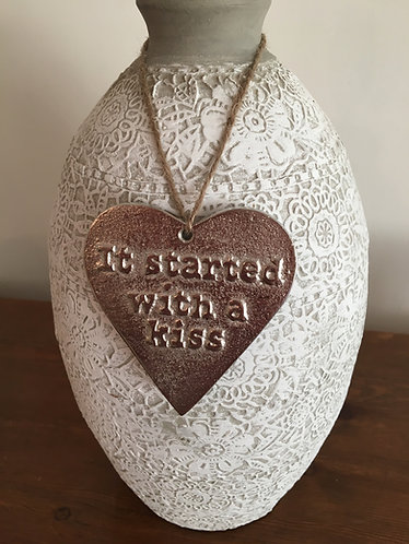 "'It started with a kiss' Mottled Silver 3.5"" Hanging Heart"