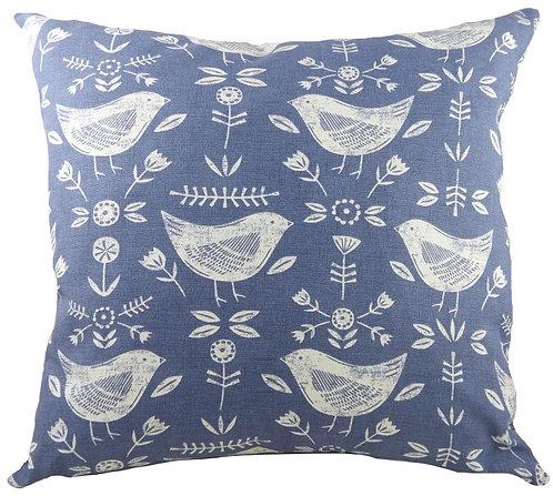 Nordic Birds Blue Cushion 43cm