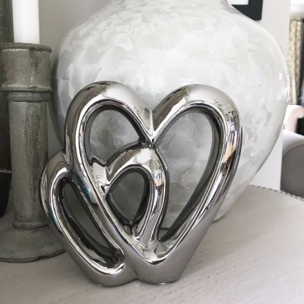Silver Double Heart Decoration