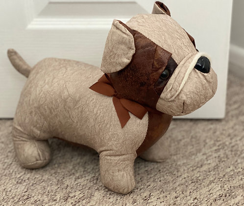 Cream Faux Leather Patchwork Dog Doorstop