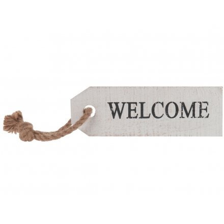 White, Rustic, Reclaimed Wooden Welcome Sign
