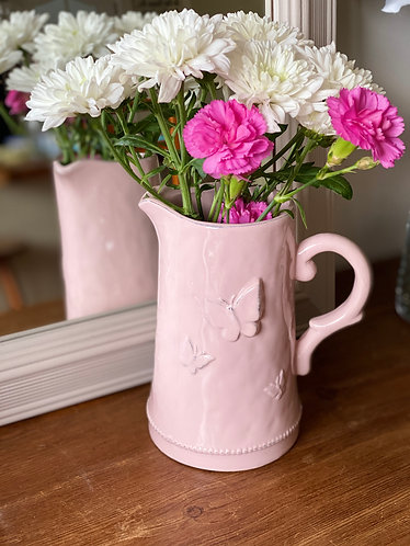"""Pink Butterfly Ceramic 7"""" Jug"""