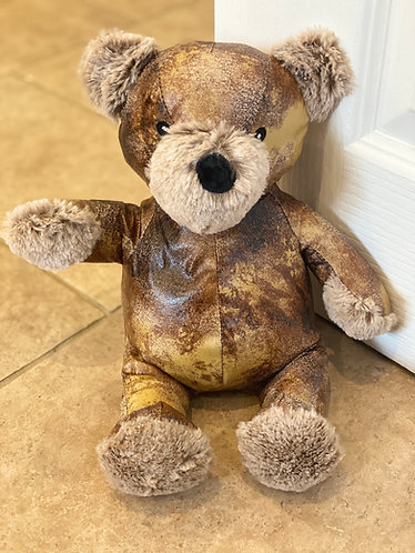 Aged Faux Leather Teddy Doorstop