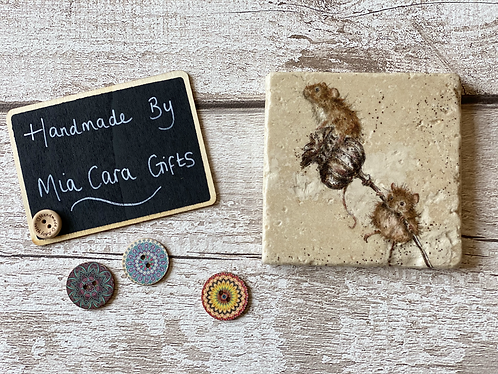 Set of 4 Natural Stone Decoupaged Coasters