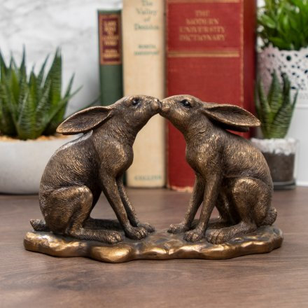 Decorative Bronzed Kissing Hare