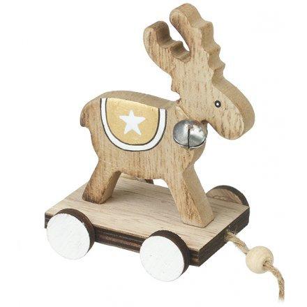 Wooden Pull Along Festive Reindeer