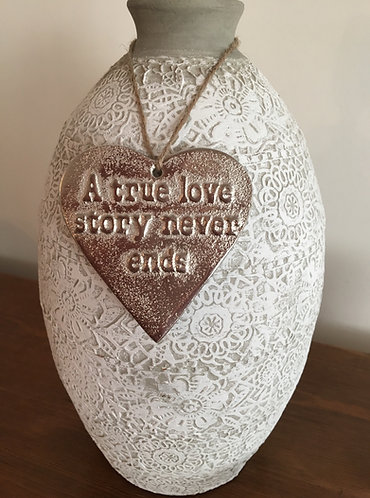 "'A true love story never ends' Mottled Silver 3.5"" Hanging Heart"