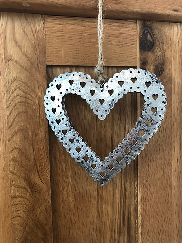 Rustic Silver Hanging Heart 5""