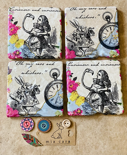 Alice in Wonderland, natural stone travertine coasters