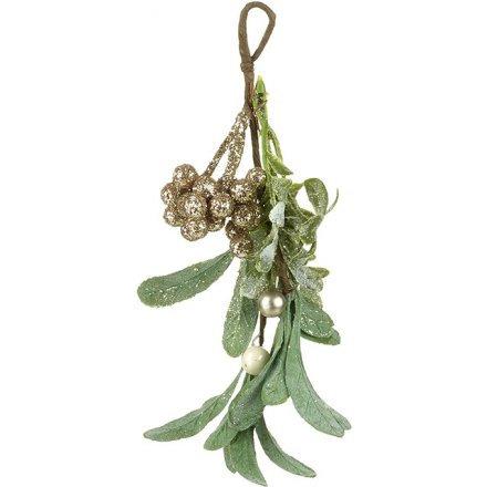 Beautiful Sprig of Glittery Mistletoe