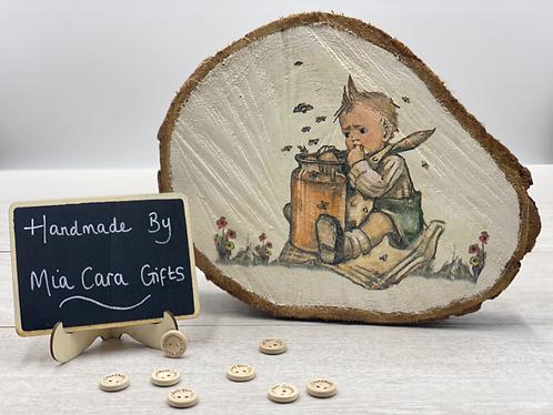 Hand Painted, Decoupaged Vintage Honey Pot Wood Slice