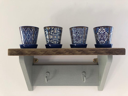 A Collection of Assorted Blue & White Mini Vintage Garden Planters 8cm