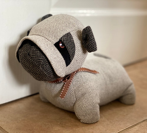 Grey Herringbone Pug Doorstop
