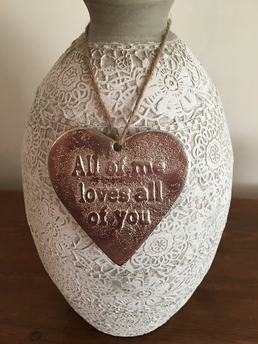 "'All of me loves all of you' Mottled Silver 3.5"" Hanging Heart"
