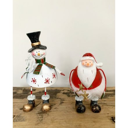 Wobbly Snowman & Father Christmas Figures