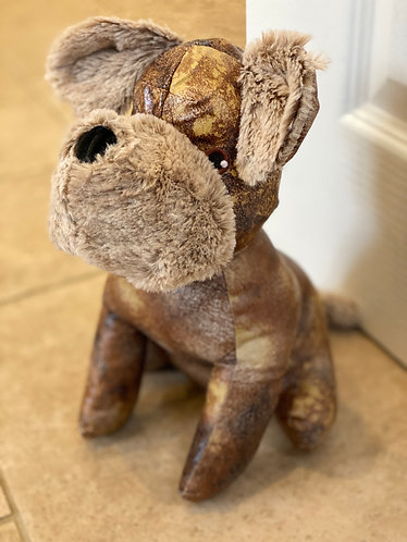 Aged Faux Leather Dog Doorstop