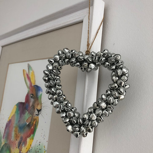 Silver Bell Hanging Heart 4""