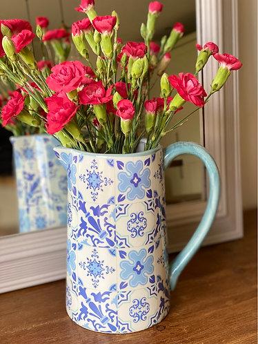 Assorted Blue Mosaic Ceramic Jug 19cms