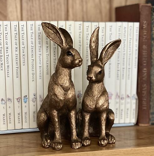 Decorative Pair of Bronzed Hares
