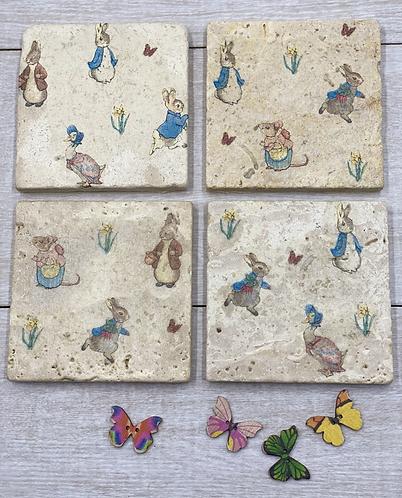 Natural Stone Travertine Decoupaged Coasters