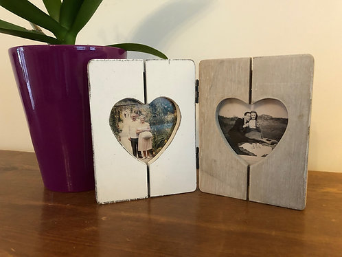 Rustic Wooden Double Heart Photo Frame