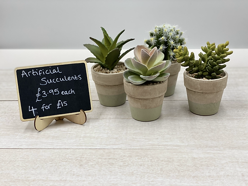 Set of 4 Petite Artificial Succulents