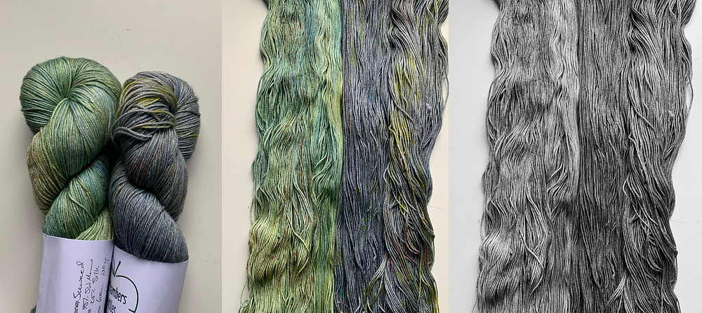 Three images of two skeins of yarn, first wound up, then opened, then the opened one in black and white.