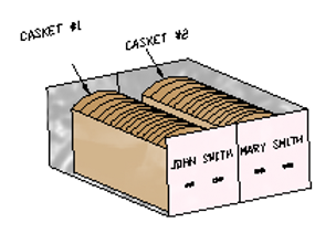Drawing of a Standard Companion Crypt at Twin Valley Mausoleum