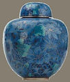 Blue Sapphire Cloisonne decorative urn, Twin Valley Mausoleum