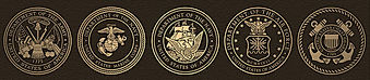 Some of the bronze military emblems available for personalization of our bronze memorials