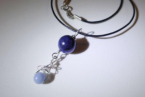 藍線石天使石皮頸繩