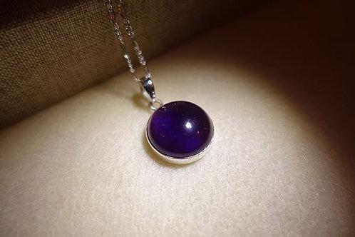 紫水晶圓形925銀吊墜連頸鏈