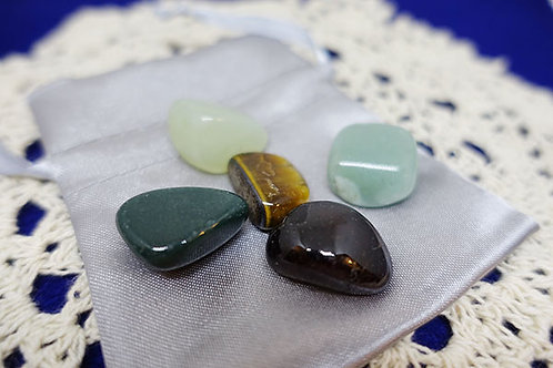 Tumbled Gemstones in Pouch - Wealth