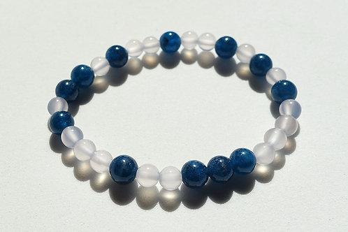 藍磷灰石玉髓手串