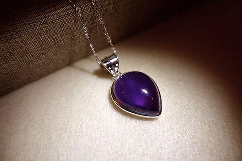 紫水晶倒水滴形925銀吊墜連頸鏈