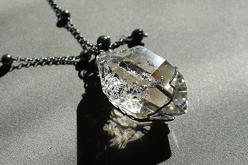 赫基蒙鑽石(閃靈鑽)火山石吊墜配銀頸鏈#1