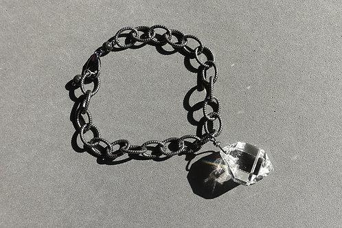赫基蒙鑽石(閃靈鑽)配火山石銀手鏈#2