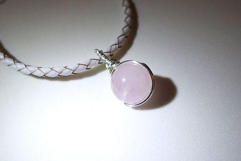 粉晶皮手繩