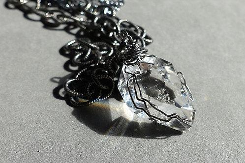 赫基蒙鑽石(閃靈鑽)吊墜配火山石及銀頸鏈#2