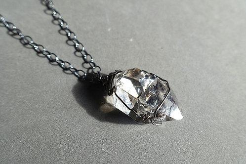 赫基蒙鑽石(閃靈鑽)火山石吊墜配銀頸鏈#2